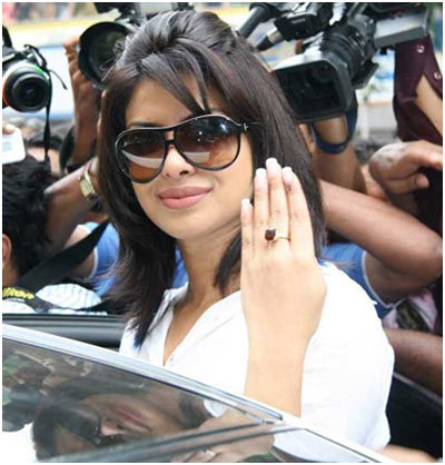 Priyanka Chopra At Maharashtra Civic Corporation Poll