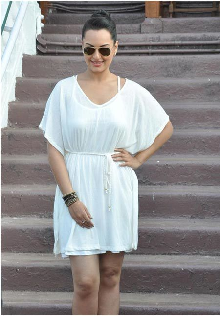 sonakshi sinha in white dress