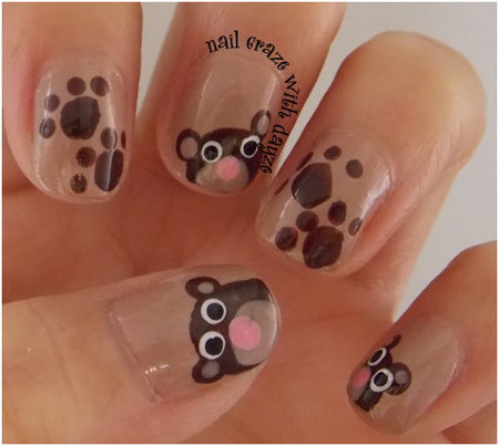 teddy bear nail art Pinit. You can add paw print ... - 50 Animal Themed Nail Art Designs To Inspire You