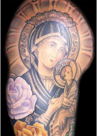 virgin mary baby jesus tattoos