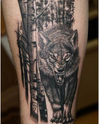wolf and forest tattoos