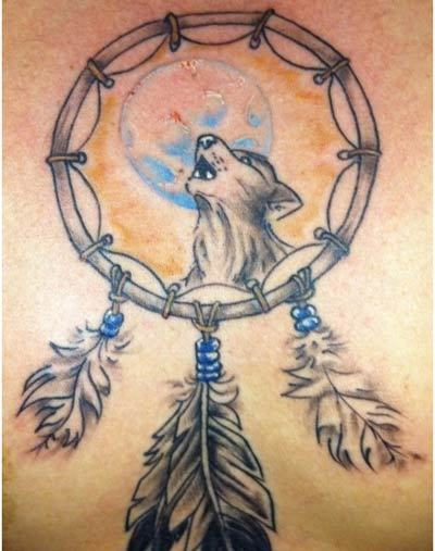 wolf dream catchers tattoos