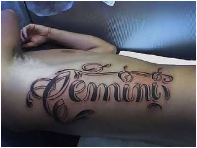 Best Zodiac Sign Tattoos - 10. Word Zodiac Tattoo