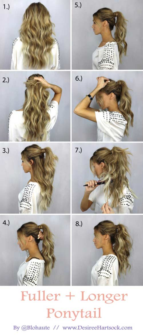 20 Terrific Hairstyles For Long Thin Hair 1 Fuller And Longer Ponytail