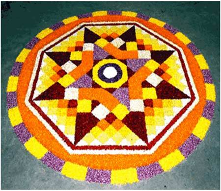 star shape rangoli designs