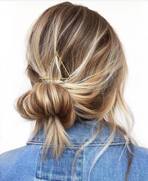 17. Pin Accented Messy Bun