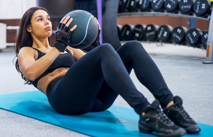 Medicine Ball Exercises For The Chest And Back - Sit-Up With Chest Press