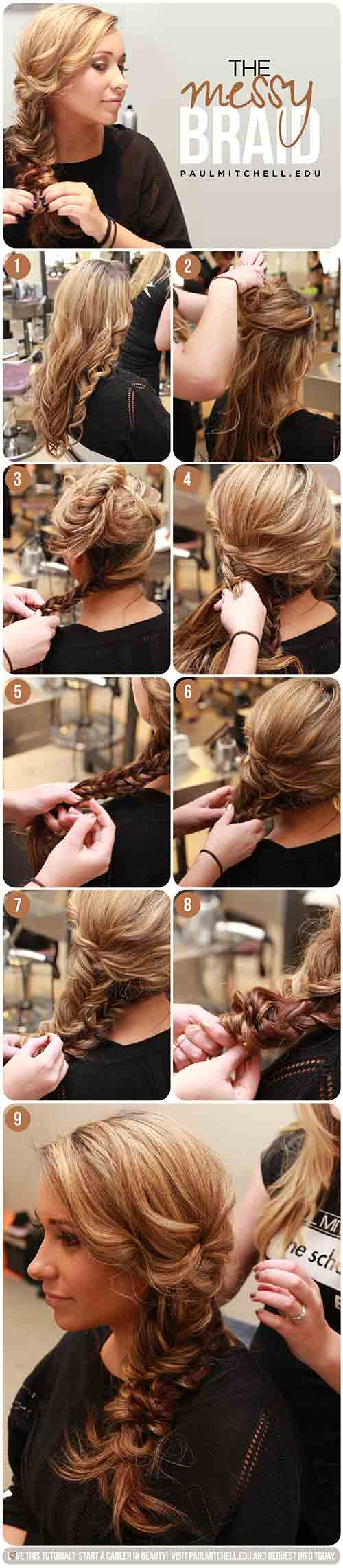 4. Messy Double Fishtail Braid