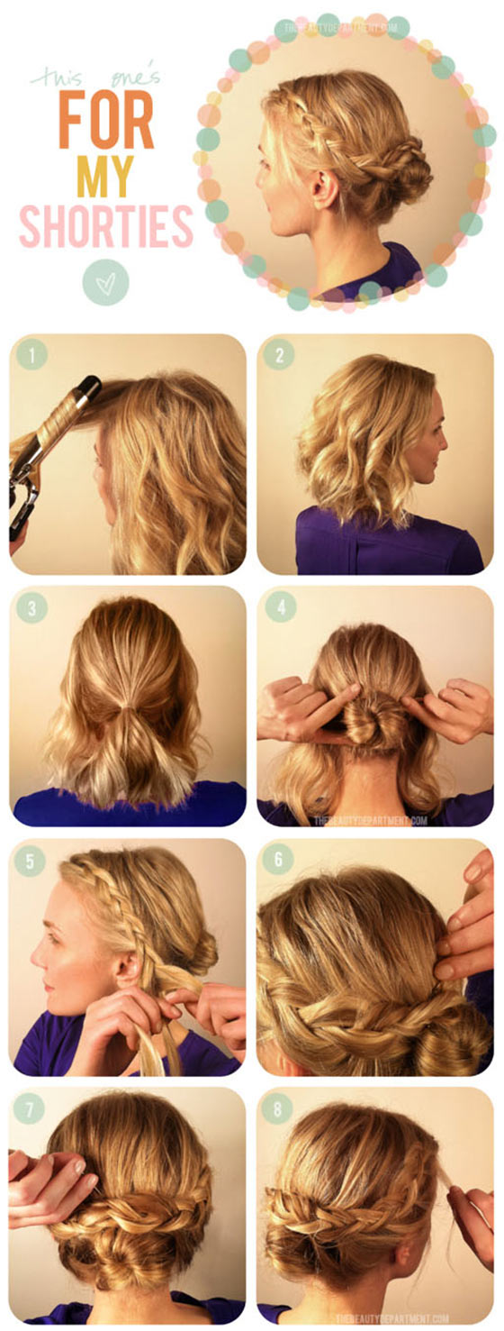 40 quick and easy updos for medium hair 9 low bun with side braids baditri Image collections