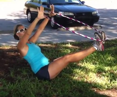 Hula Hoop Exercises - Hula Hoop V-sit