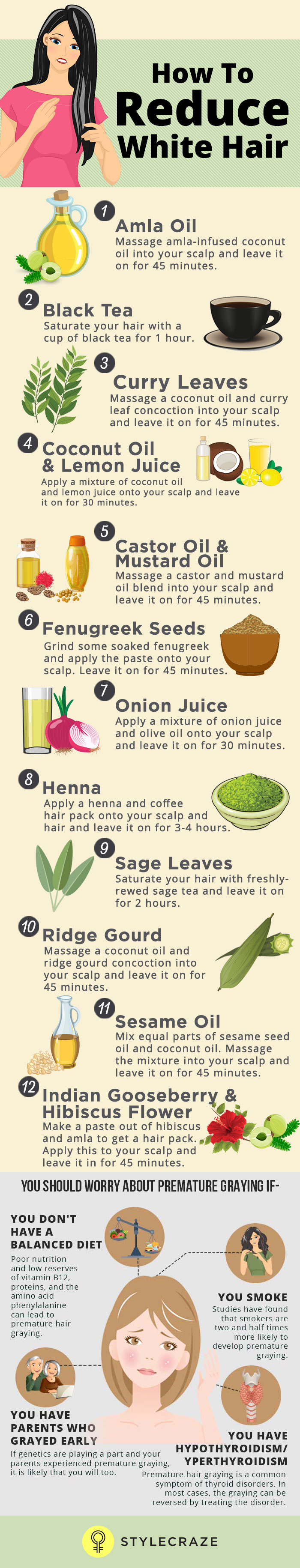 7 Causes And 12 Ways To Reduce White Hair Naturally
