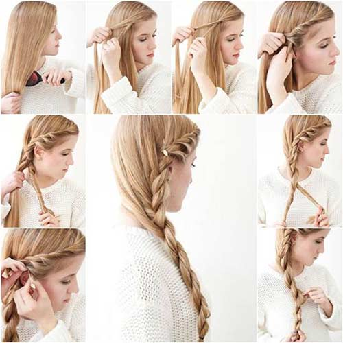 7. French Twisted Side Braid