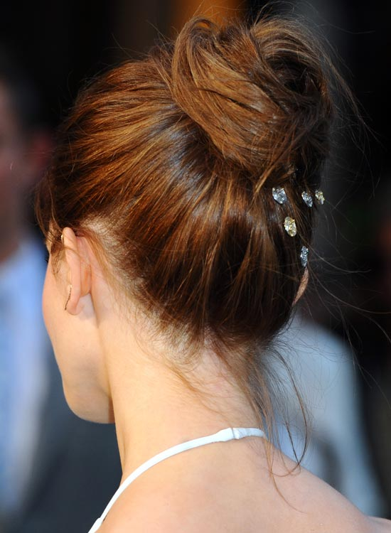 Casual-High-Folded-Updo-with-Crystal-Pins