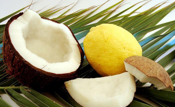 Coconut milk mixed with lemon juice