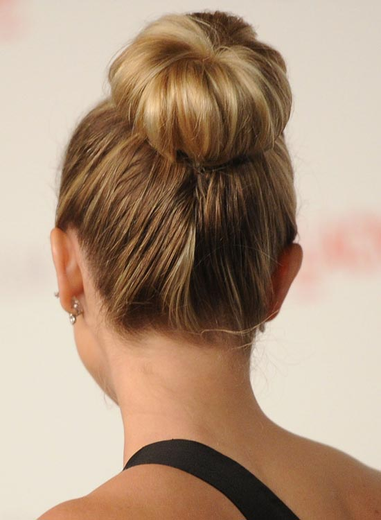 Bun Hairstyles For Long Hair - Easy-High-Donut-Bun