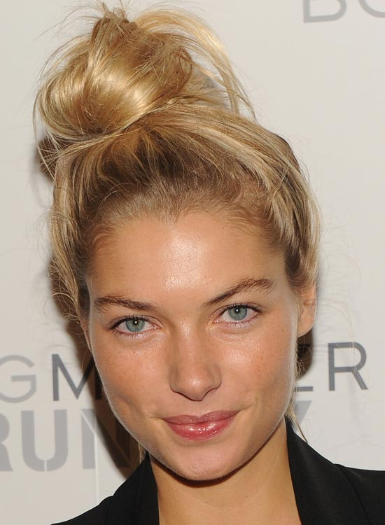Bun Hairstyles For Long Hair - High-Side-Bun-with-Messy-Finish