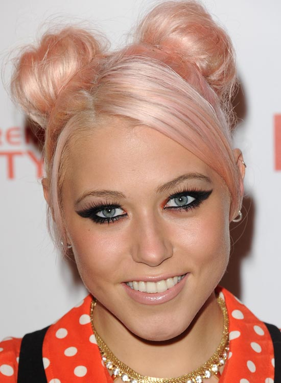 Bun Hairstyles For Long Hair - Light-Pink-Double-Buns-with-Side-Sweep