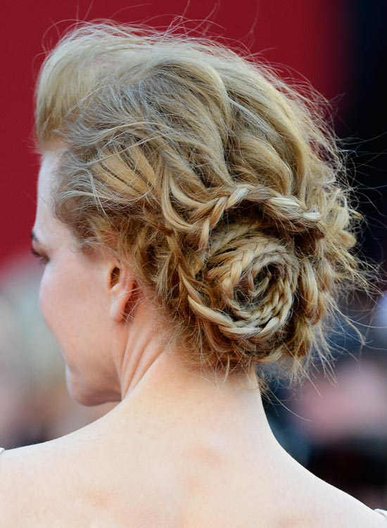 Low-Braided-Rose-Bun-with-Pouf-and-Messy-Waves