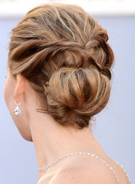 Low Solid Highlighted Updo With Twisted Strands