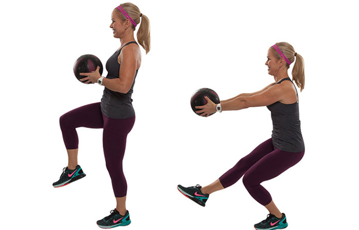Medicine Ball Exercises - Single Leg Squat