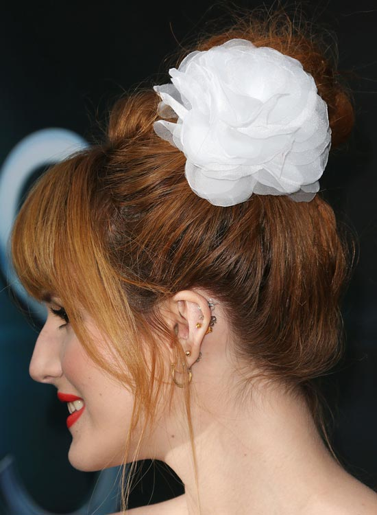 Bun Hairstyles For Long Hair - Messy-High-Bun-with-Puffy-Top-and-Fringes