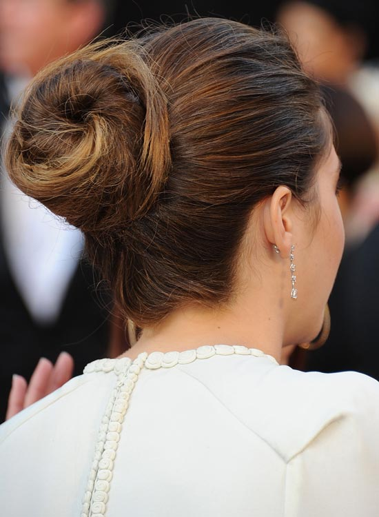 Messy-Twisted-Spiral-Updo-with-Highlights
