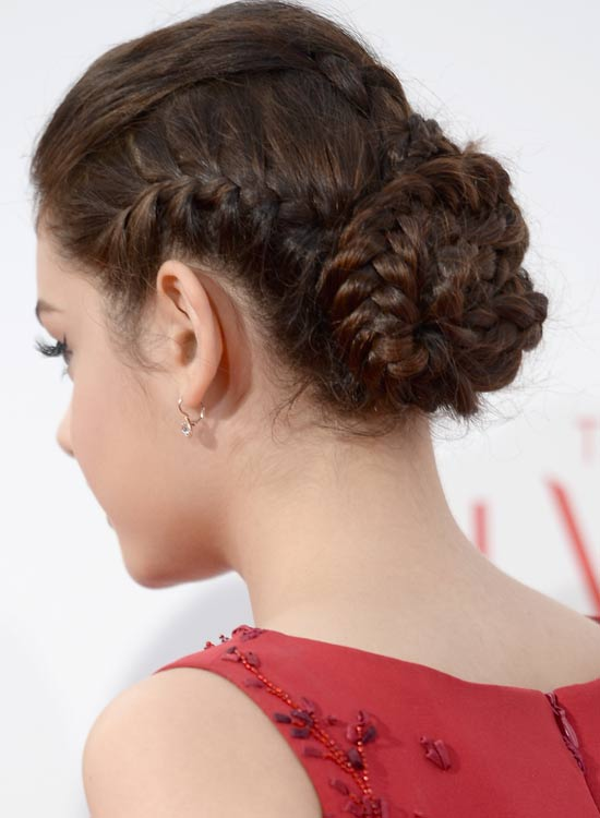Neat-Braided-Updo-with-Puff-and-Side-Braids