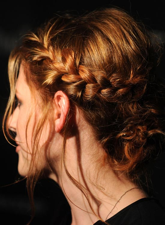 Single-Braided-Low-Bun-with-Puffy-Crown-and-Loose-Strands