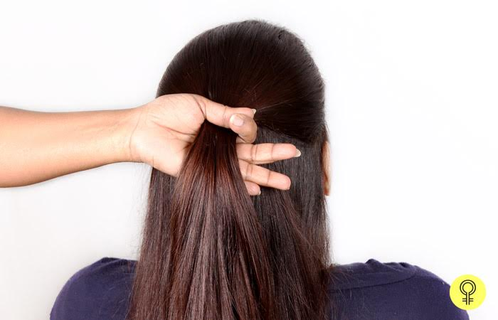 Start by brushing your hair back