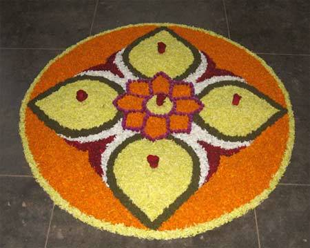 beautiful pink rangoli