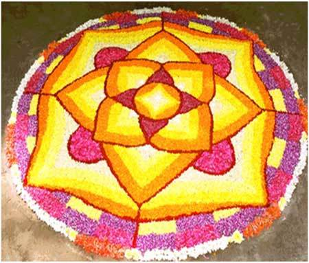 bright colourful rangoli