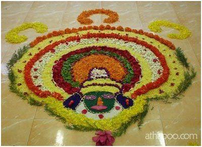 colored petals rangoli