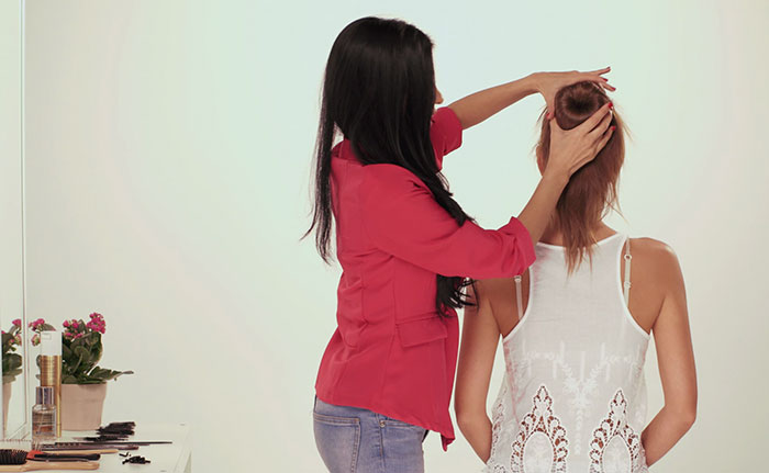 cover the bun with your hair