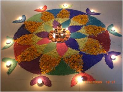 diwali rangoli with diya