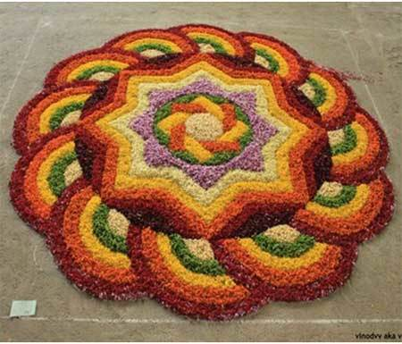floral shaped rangoli