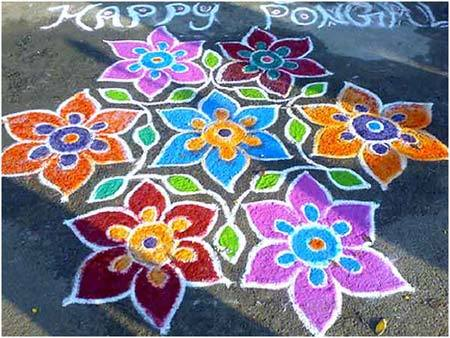 flowers rangoli design