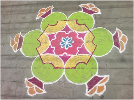 green rangoli designs