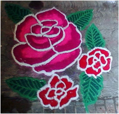 light pink rangoli designs