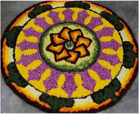 onam rangoli designs with flowers