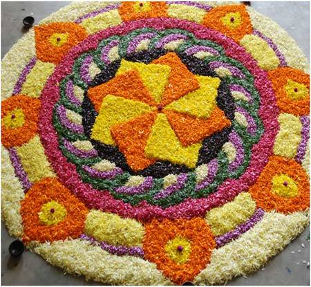 round shape rangoli desing. 50 Best Pookalam Designs For Onam Festival
