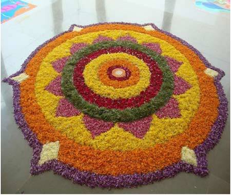 round shaped rangoli design