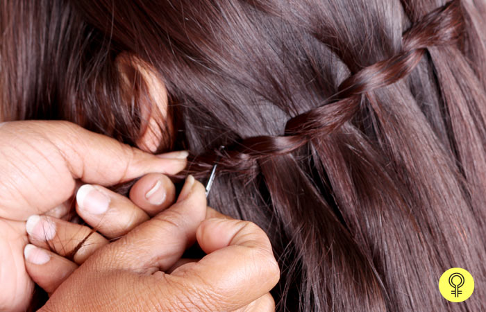 Use a Pin To Secure The Braid - Waterfall Braid