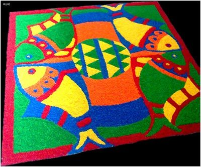 white rangoli designs