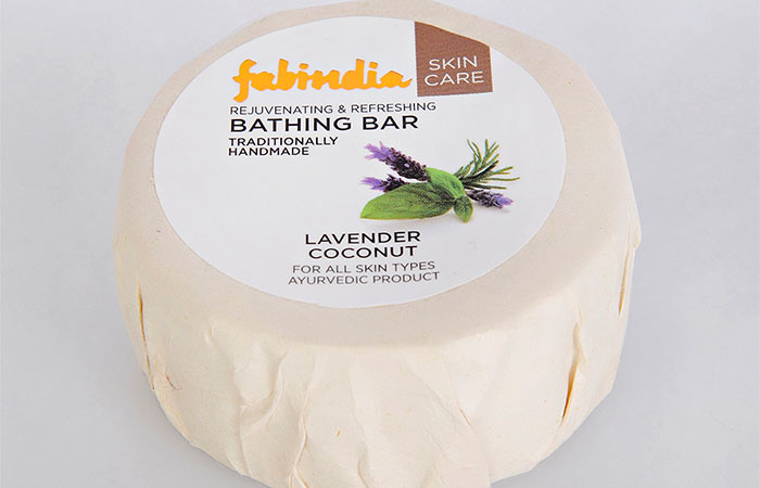1. Fab India Lavender And Coconut Bathing Bar