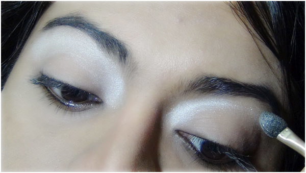 Gothic Eye Makeup Tutorial - Step 2: Apply Silver Highlighter