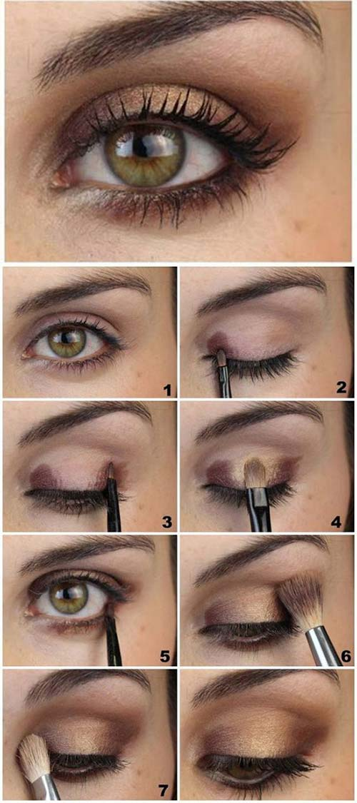 1. Brown And Gold Soft Eye Makeup Tutorial