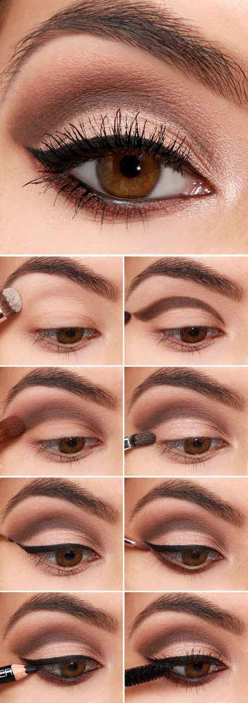 Brown Cut Crease And Black Eyeliner