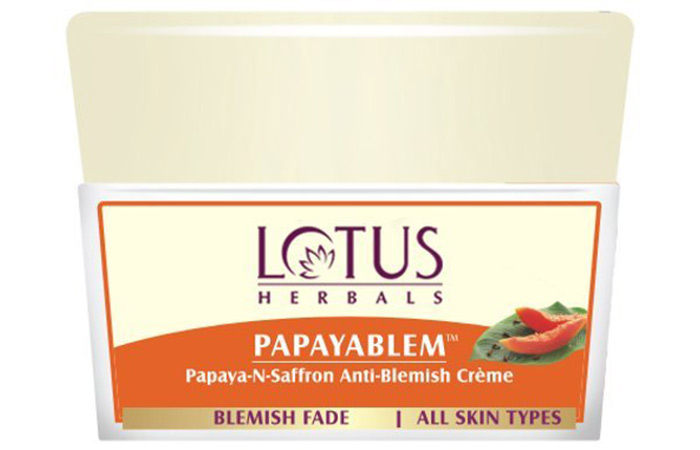 13. Lotus Herbals Papayablem Papaya-N-Saffron Anti-Blemish Cream