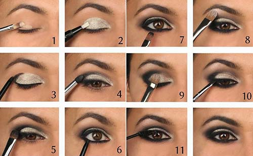 Black And Silver Smokey Eye Makeup Tutorial