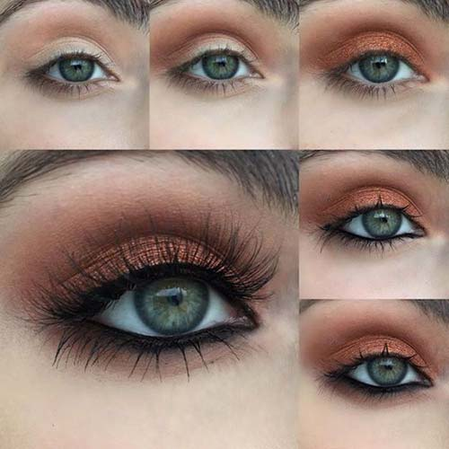 Warm Copper Green Eye Makeup Tutorial